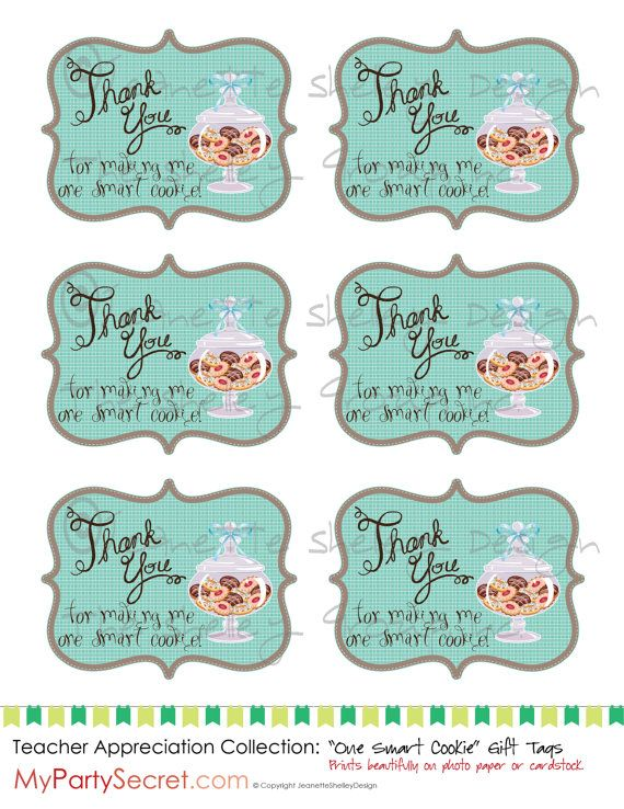 Diy printable teacher appreciation one smart cookie gift tags diy printable teacher appreciation one smart cookie gift tags negle Images