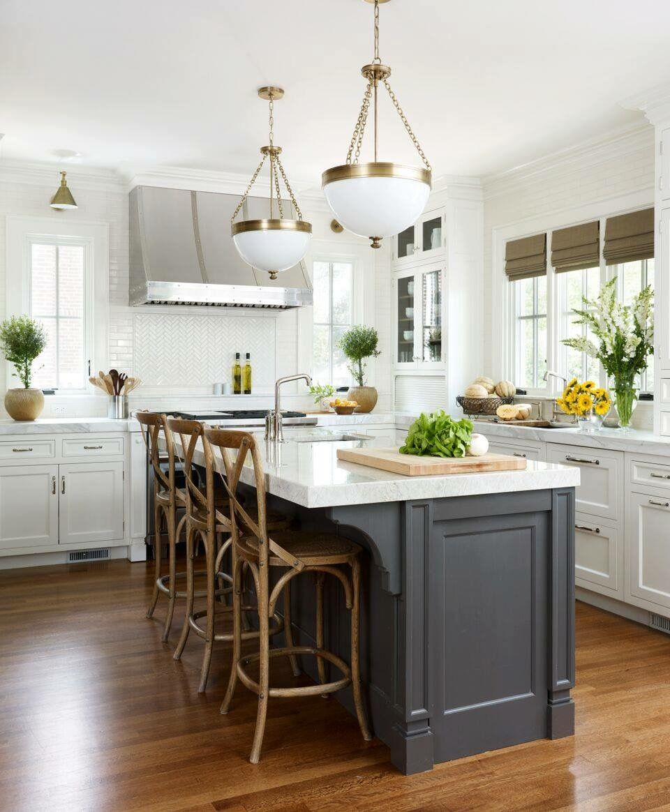 Pin By Tricia Urbaniak On For The Home Contrasting Kitchen Island White Kitchen Island Kitchen Cabinets Decor