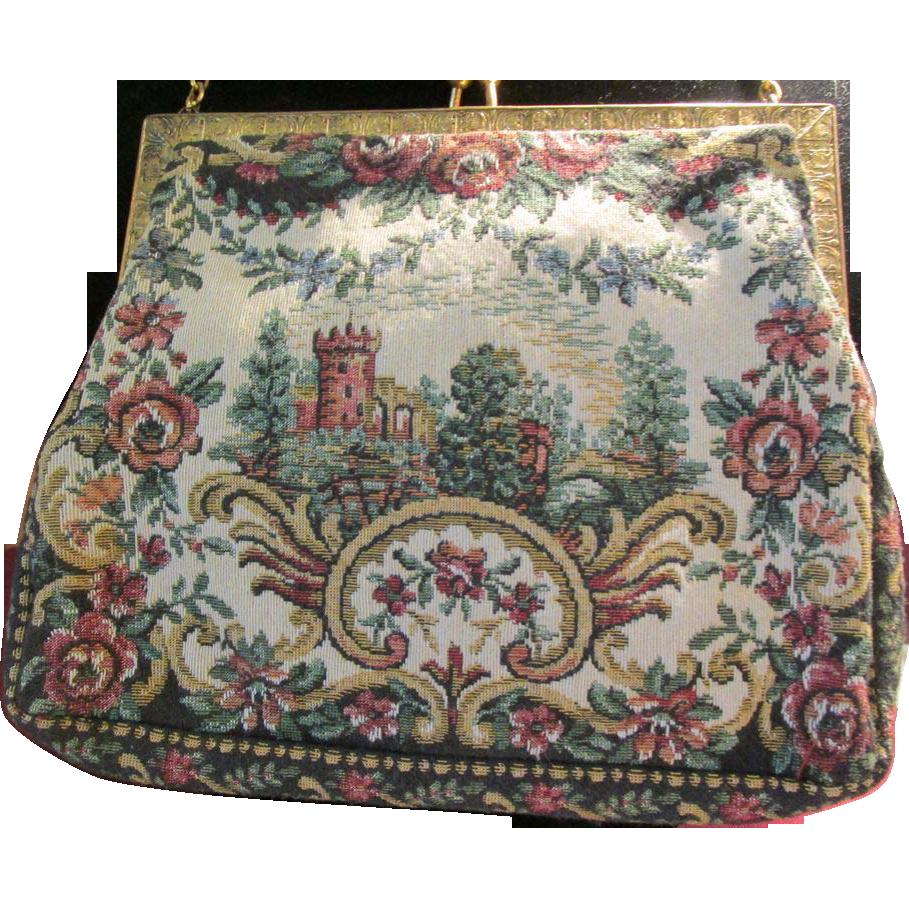 Scenic Castle Pe Point Vintage Handbag Purse France