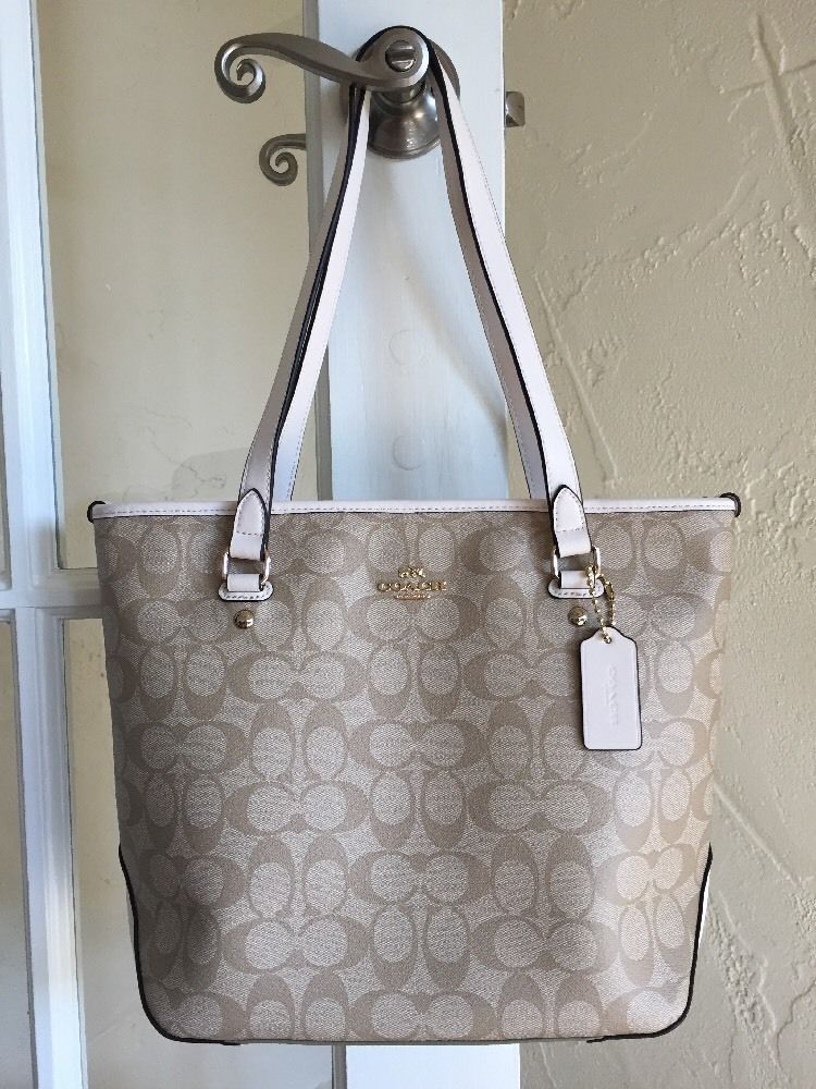 23419b131420 Coach F58294 Signature Zip Top Tote Light Khaki Chalk  Coach  TotesShoppers