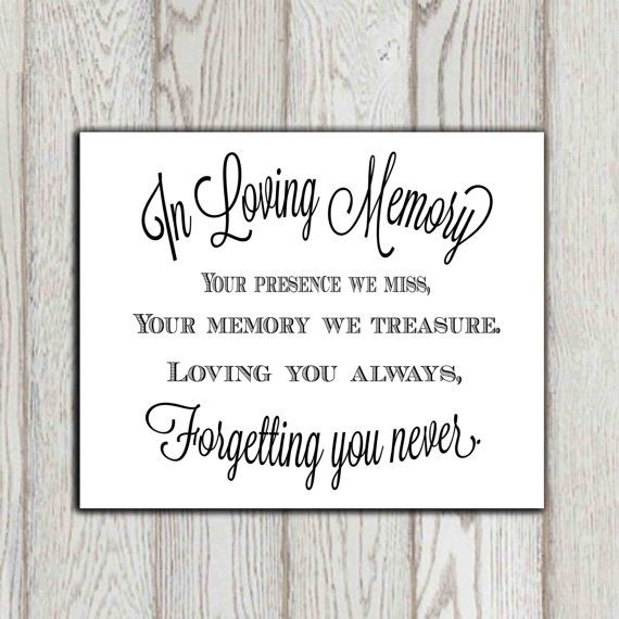 In loving memory of print Memorial table Wedding memorial sign - memorial service invitation wording