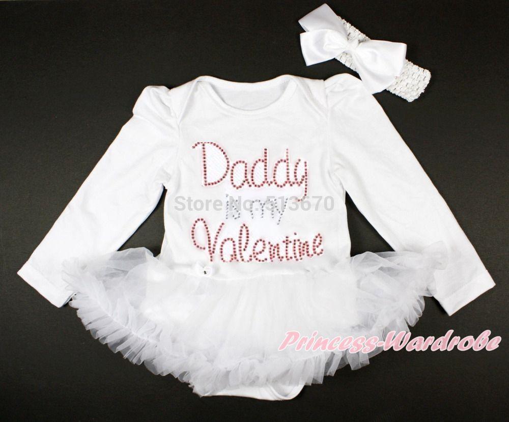 Rhinestone Daddy Valentine White Long Sleeve Bodysuit White Baby Dress NB-18M