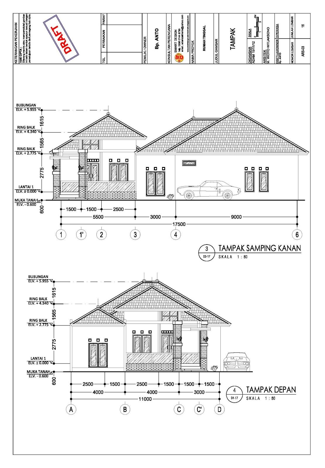 Gambar Kerja Proyek Rumah 4 Denah Rumah Denah Rumah Pedesaan Gambar Arsitektur