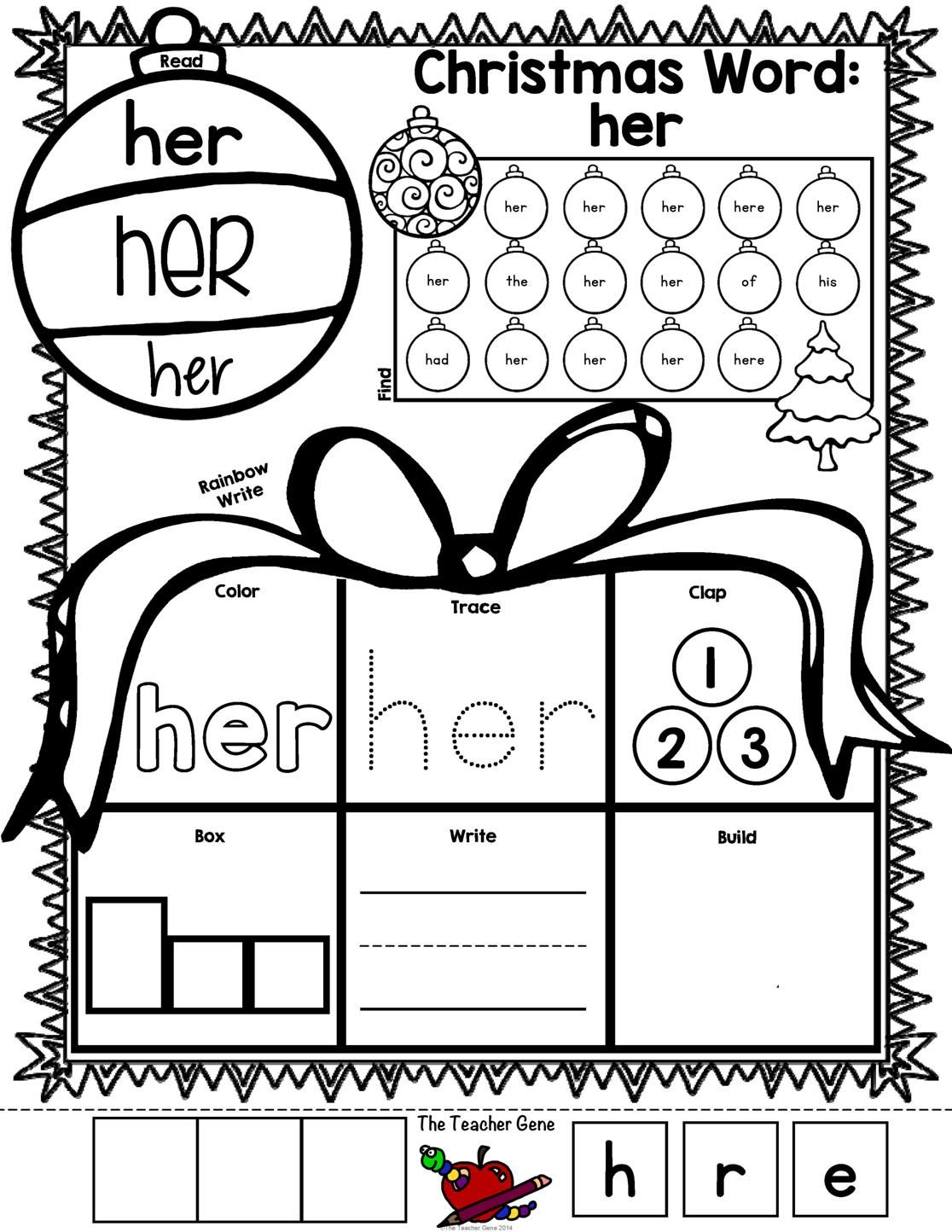 Most Popular Teaching Resources: Christmas Sight Words Print and Go {Freebie}