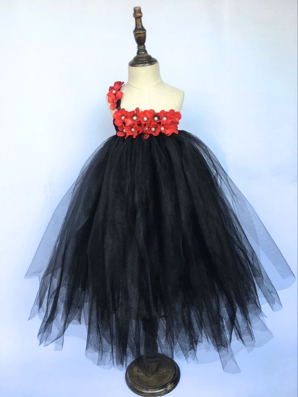 c226bed23d73d New Girls Black Tutu Dress Kids Fluffy Tulle Strap Dress Ball Gown ...