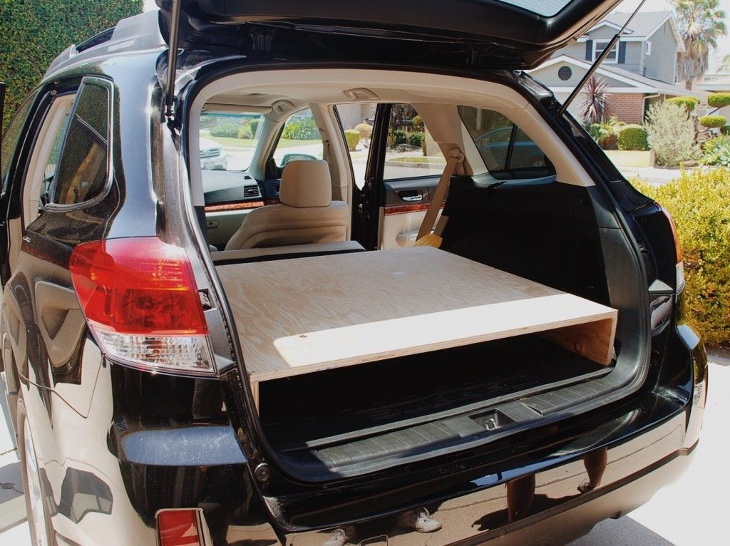 How To Turn Your Subaru Outback Into A Camper A Few Years Ago I Converted My Suv To A Camper By Building A Platform Bed Subaru Outback Suv Camper Car Camper