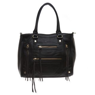 4f1e494a70 Steve Madden 'BIZZY' Black Tote Bag - Overstock™ Shopping - Great Deals on Steve  Madden Tote Bags