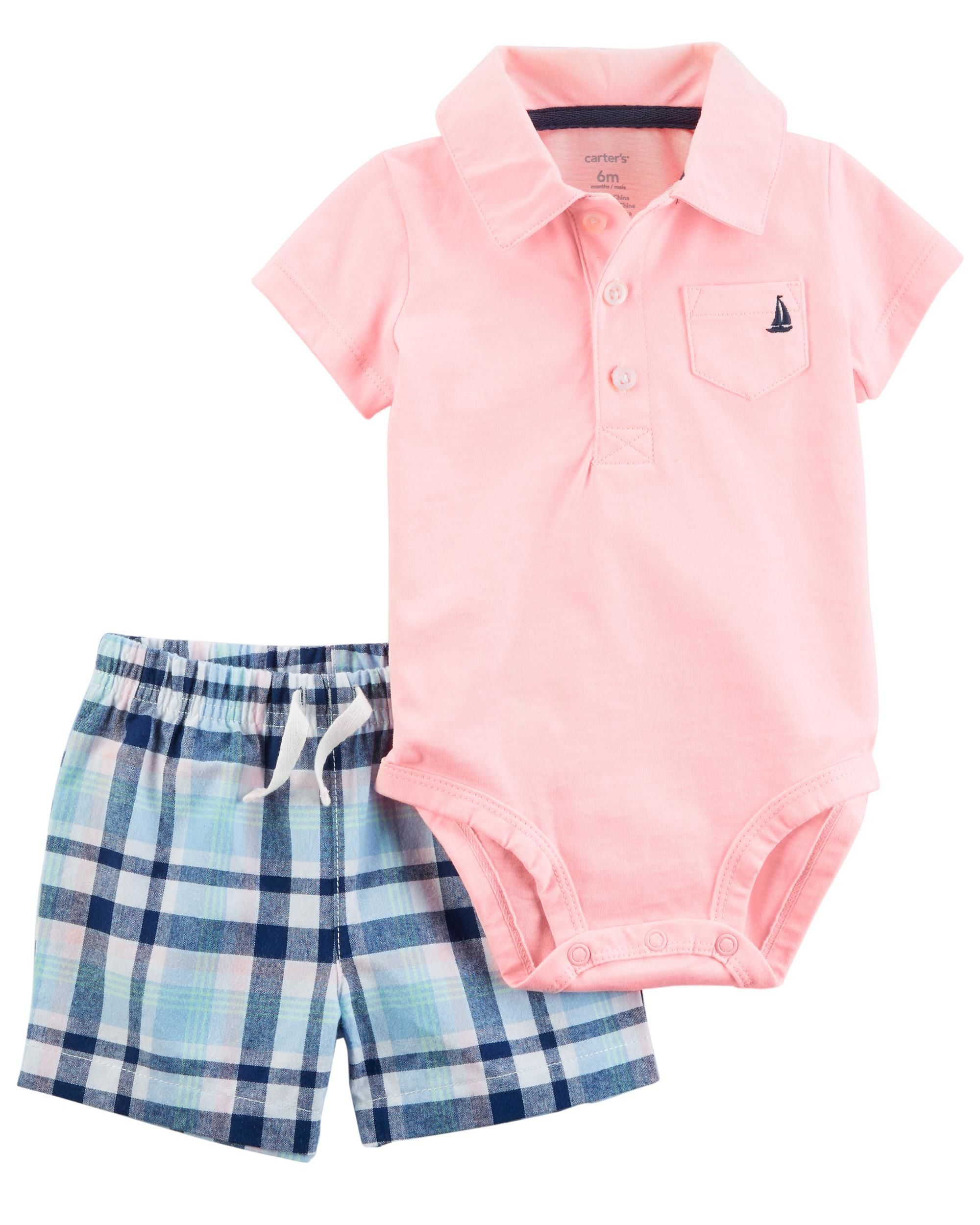 ff40f6e38 2-Piece Bodysuit Short Set | kids | Baby boy fashion, Carters baby ...