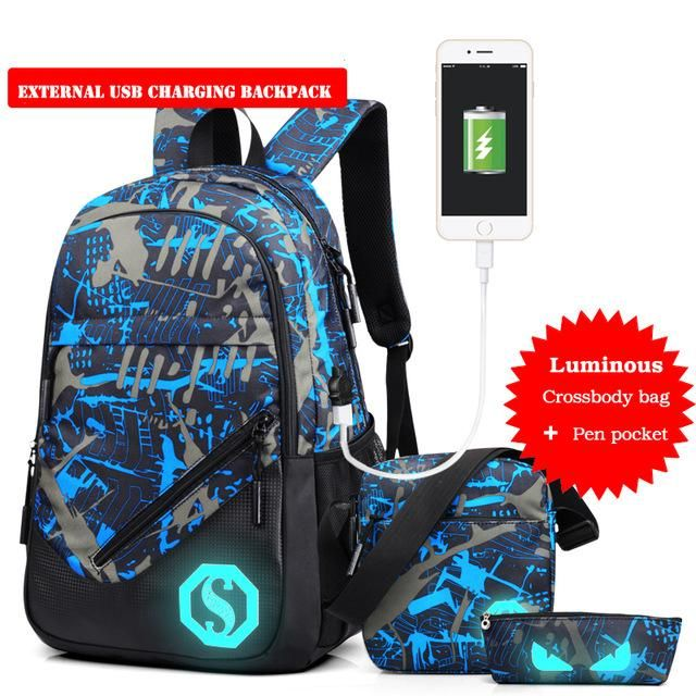 New Design USB Charging Men s Backpacks Male Casual Travel Luminous Mochila  Teenagers Women Student School Bags Laptop Backpack d7752bb4fe7bd
