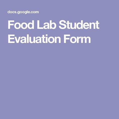 Food Lab Student Evaluation Form FACS-nutrition Pinterest - student evaluation forms