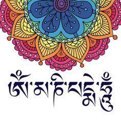 fab058dcbf363 Om Mani Padme Hum Mantra Flower Art Print by MY HOME   Society6 ...