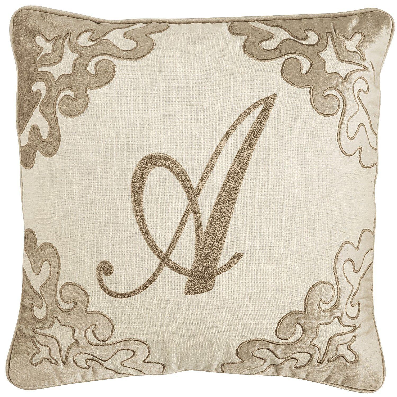 Script monogram pillow champagne a bedding ue pillows
