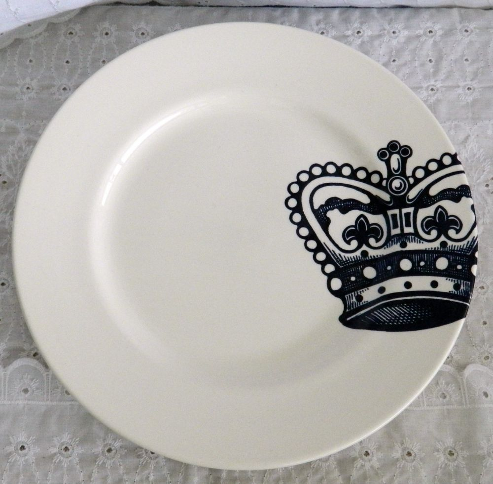Certified international parisian fruit canister by susan winget set - Royal Stafford Crown England Pottery 11 1 8 Dinner Plates White Blue Royalstafford
