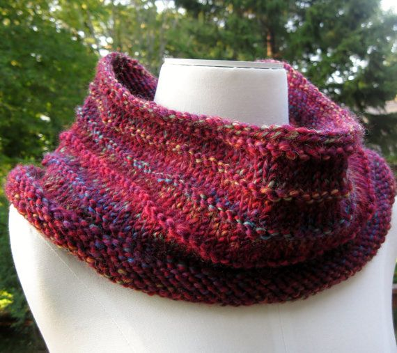 wool cowl in red purple