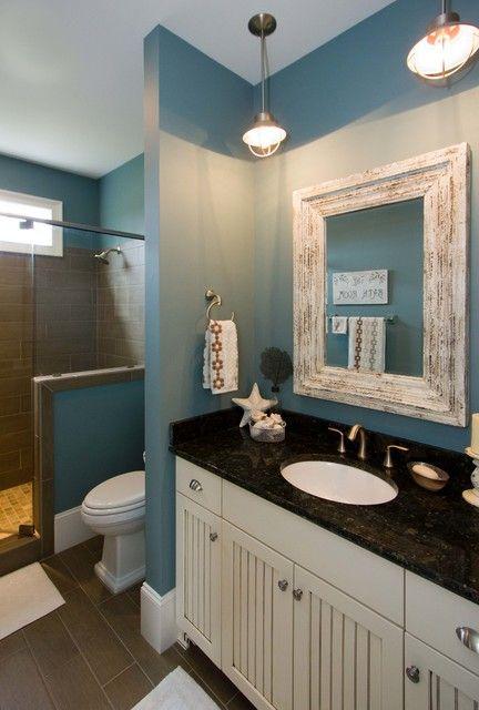 Great lighting for beach bath | Beach theme bathroom ...