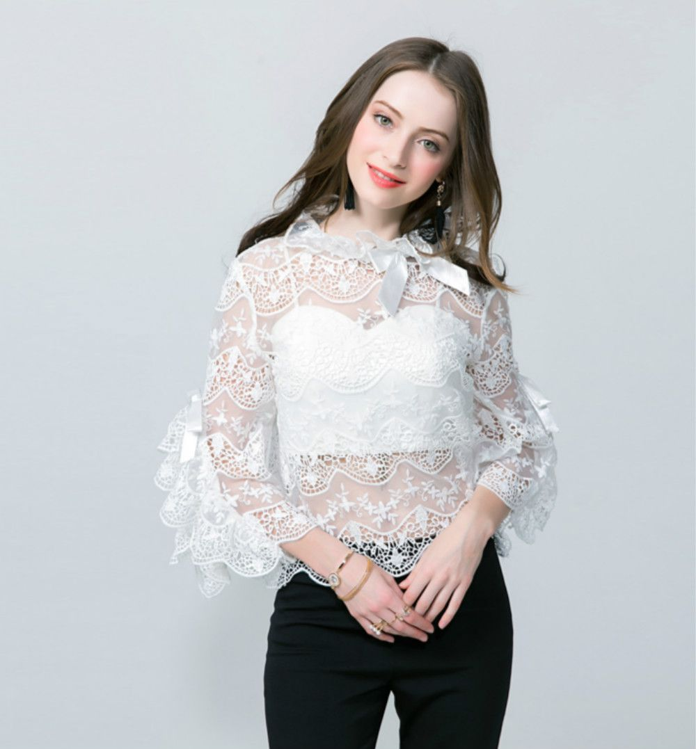 Hot Women's Lace Blouses Sexy Two Pieces See-through 2017 Summer ...