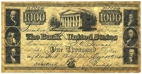The Bank Of United States 1000 1840