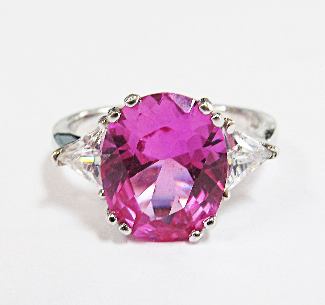 Vintage Sterling Silver Synthetic Pink Sapphire & CZ Ring $20 ...