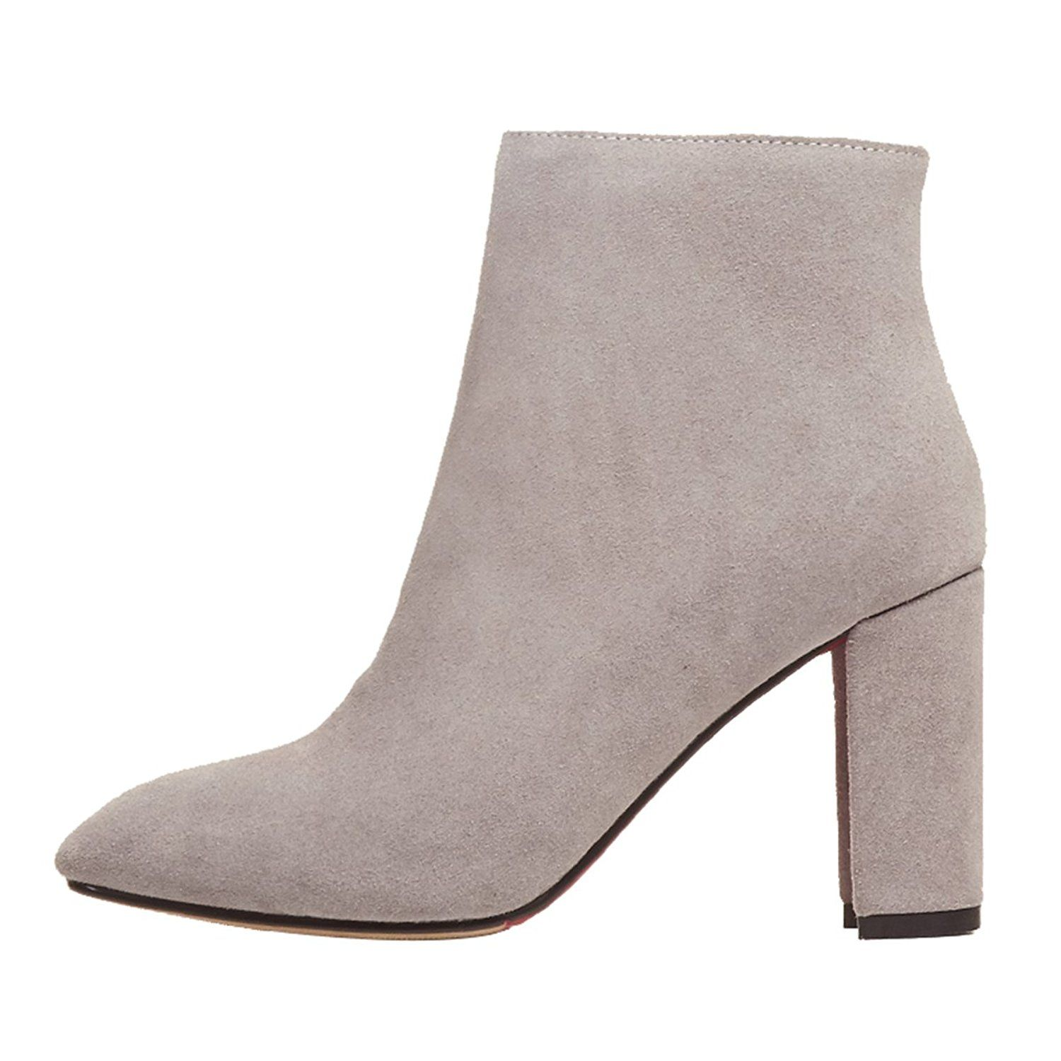 Guoar Women's Chunky High Heel Shoes Bootie Pointed Toe Zip Ankle Boots for Party Dress *** Click on the image for additional details.