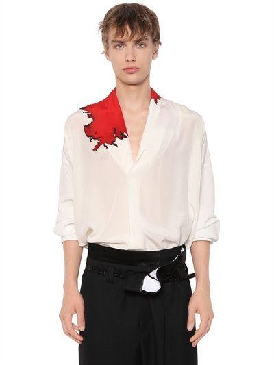 6d99a6cd7 HAIDER ACKERMANN Oversized Stain Printed Silk Crepe Shirt, White/Red. # haiderackermann #cloth #shirts