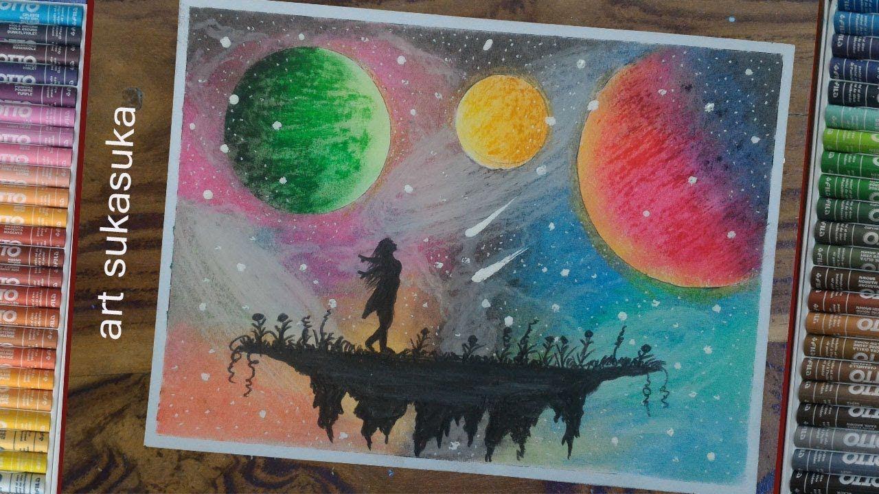 cara menggambar pemandangan langit malam keren menggunakan