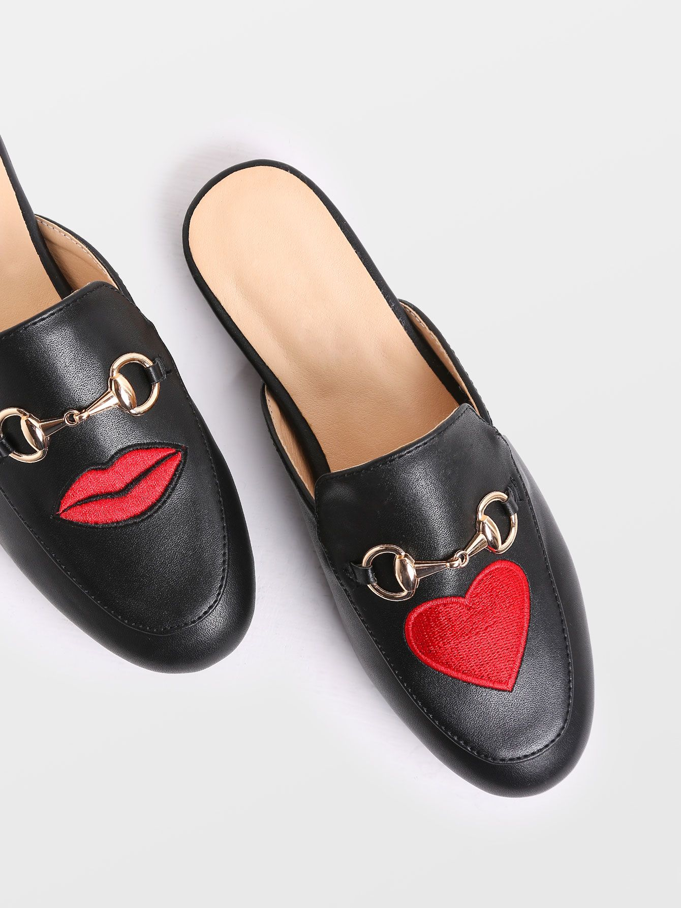 e6ad1818435 Shop Black Lip And Heart Embroidery Loafer Slippers online. SheIn ...