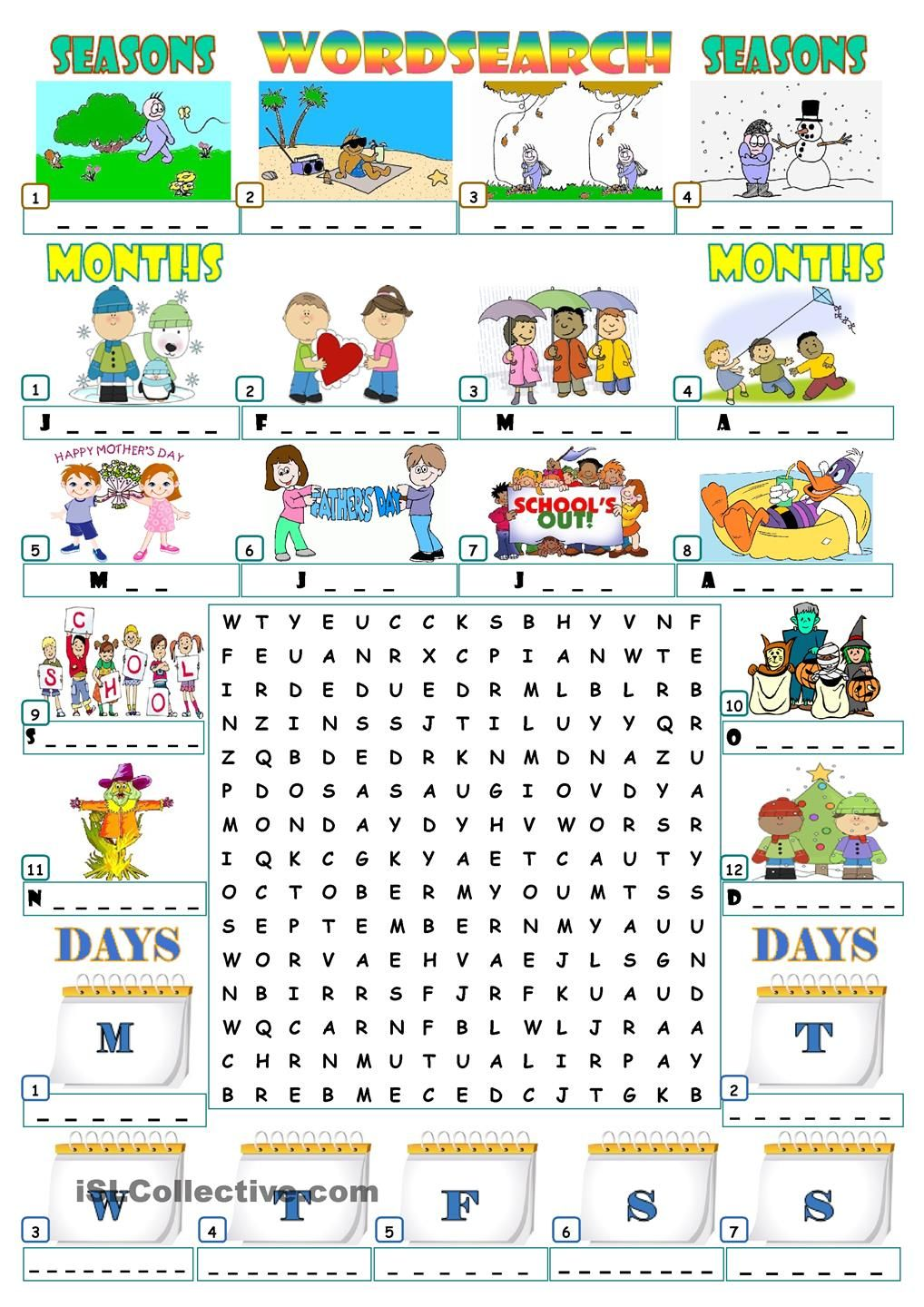 worksheet Seasons Worksheet 10 best images about seasons on pinterest crossword puzzles and student centered resources