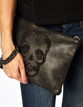 Zadig & Voltaire Mini ZV Leather Zipped Skull Motif Purse at asos.com