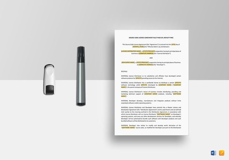 Source Code License Agreement Template  Document Design Templates