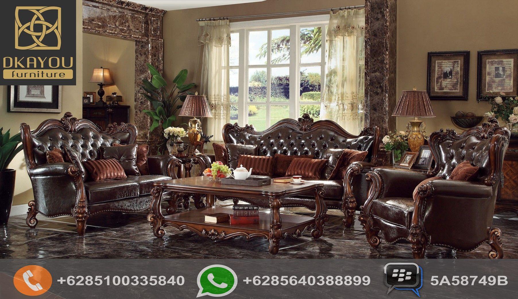 Set Sofa Ruang Tamu Mewah Klasik Eropa Dark Brown