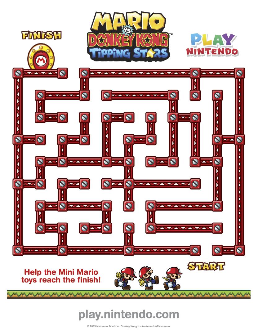 Mario Vs Donkey Kong Tipping Stars Printable Maze Play Nintendo Mario Crafts Super Mario Bros Birthday Party Super Mario Brothers Birthday Party [ 1077 x 832 Pixel ]