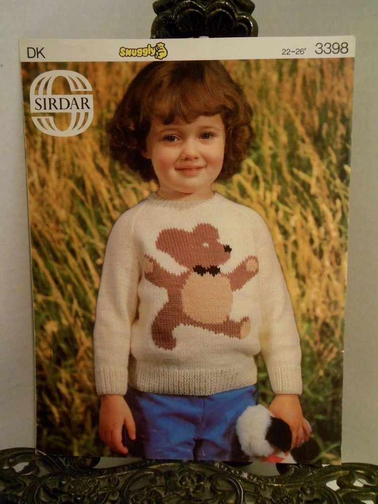 Child Sweater with Teddy Bear Sirdar Knitting Pattern 3398 Great ...
