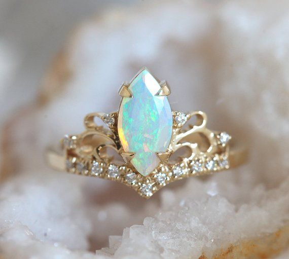 Marquise Opal Engagement Ring, Opal And Diamond Engagement Ring Yellow Gold #aquamarineengagementring