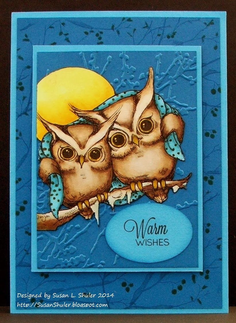handmade card from Behind the Scenes - Straits Stamping Studio ... adorable owl image colored with Copics ... stunning!! ... blues for a cold ahd chilly night ...