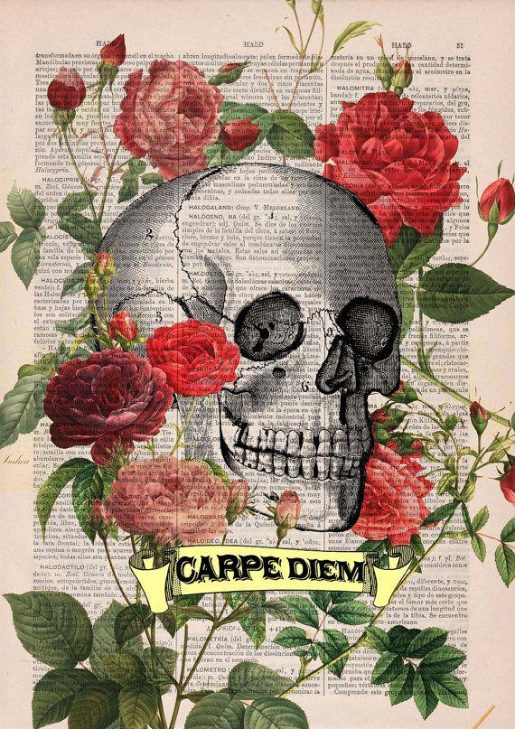 Carpe Diem Roses Skull Tattoo Art The Best Choice For Gifts