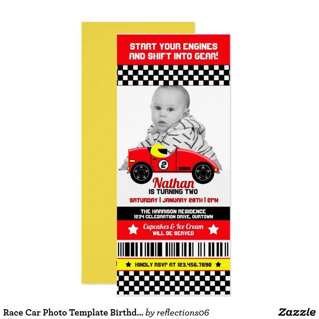 Race Car Photo Template Birthday Party Invitation | Zazzle.com