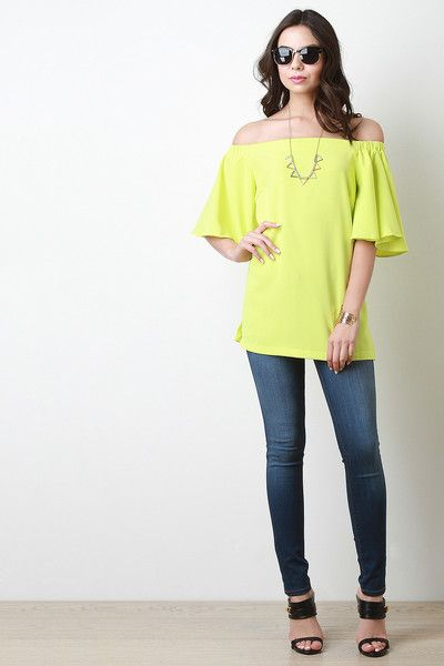 6618f1ea274 Description This off-the-shoulder bardot top features short bell sleeves