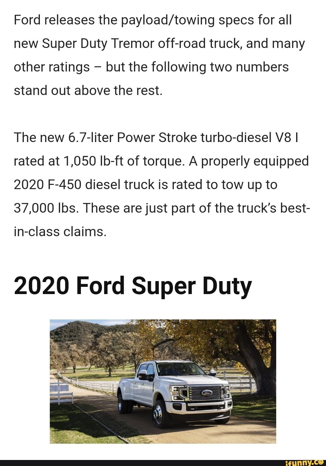 Ford releases the payload/towing specs for all new Super