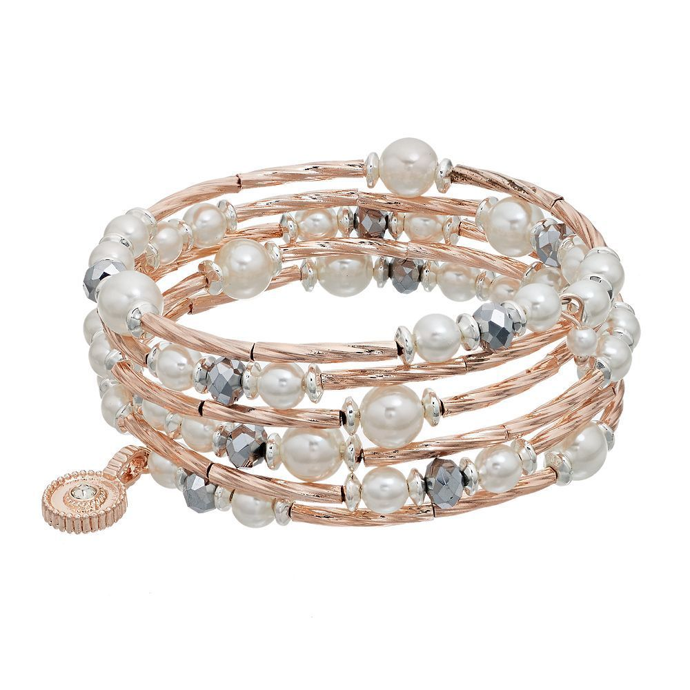Jennifer Lopez Simulated Pearl Beaded Coil Bracelet, Light Pink