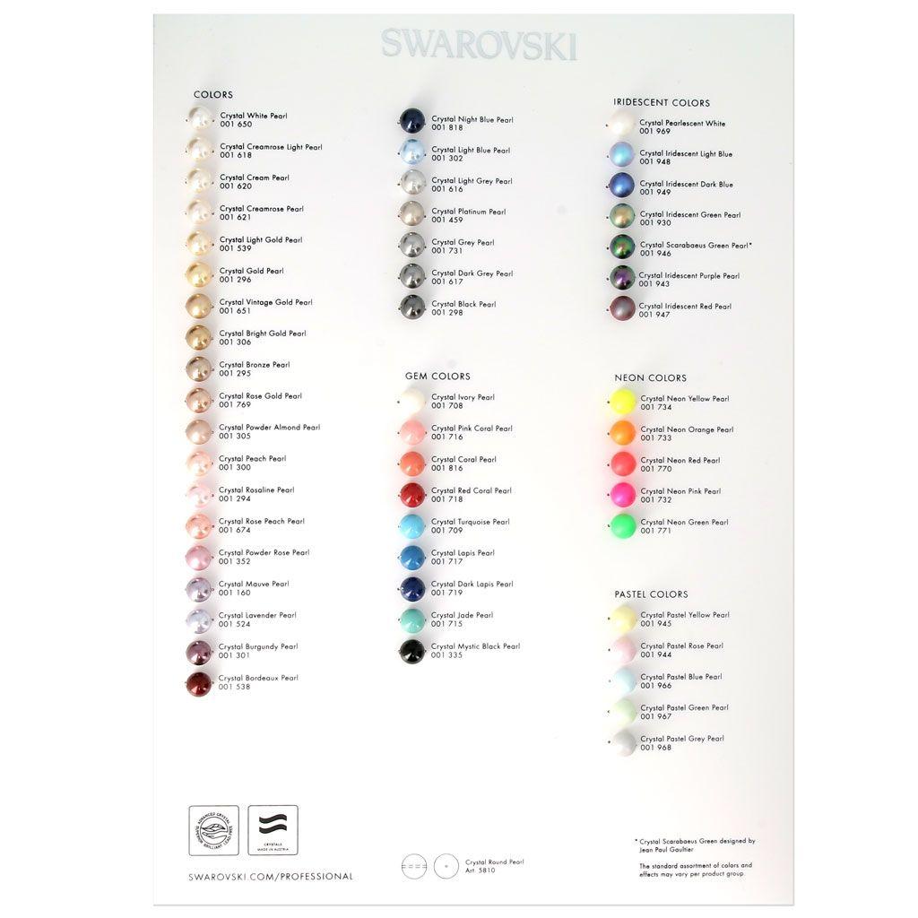 Nuancier Swarovski Crystal Pearls Color Chart 2017 Nacrees Crystal Pearls Beading Tools Pearl Color