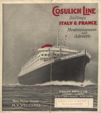 Vulcania Cosulich 1928 Nave Marittimo Trieste