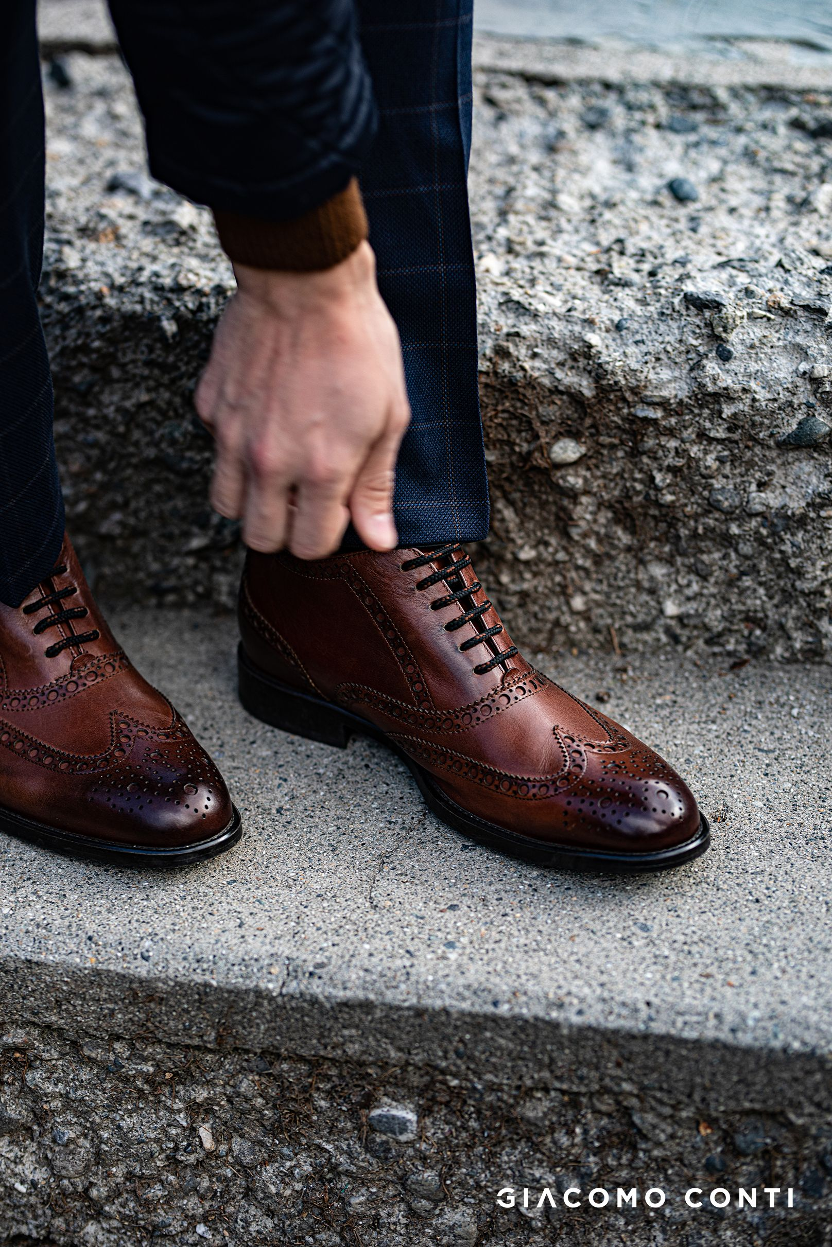 Brazowe Buty Z Ozdobnymi Detalami Giacomo Conti Dress Shoes Men Dress Shoes Men Dress