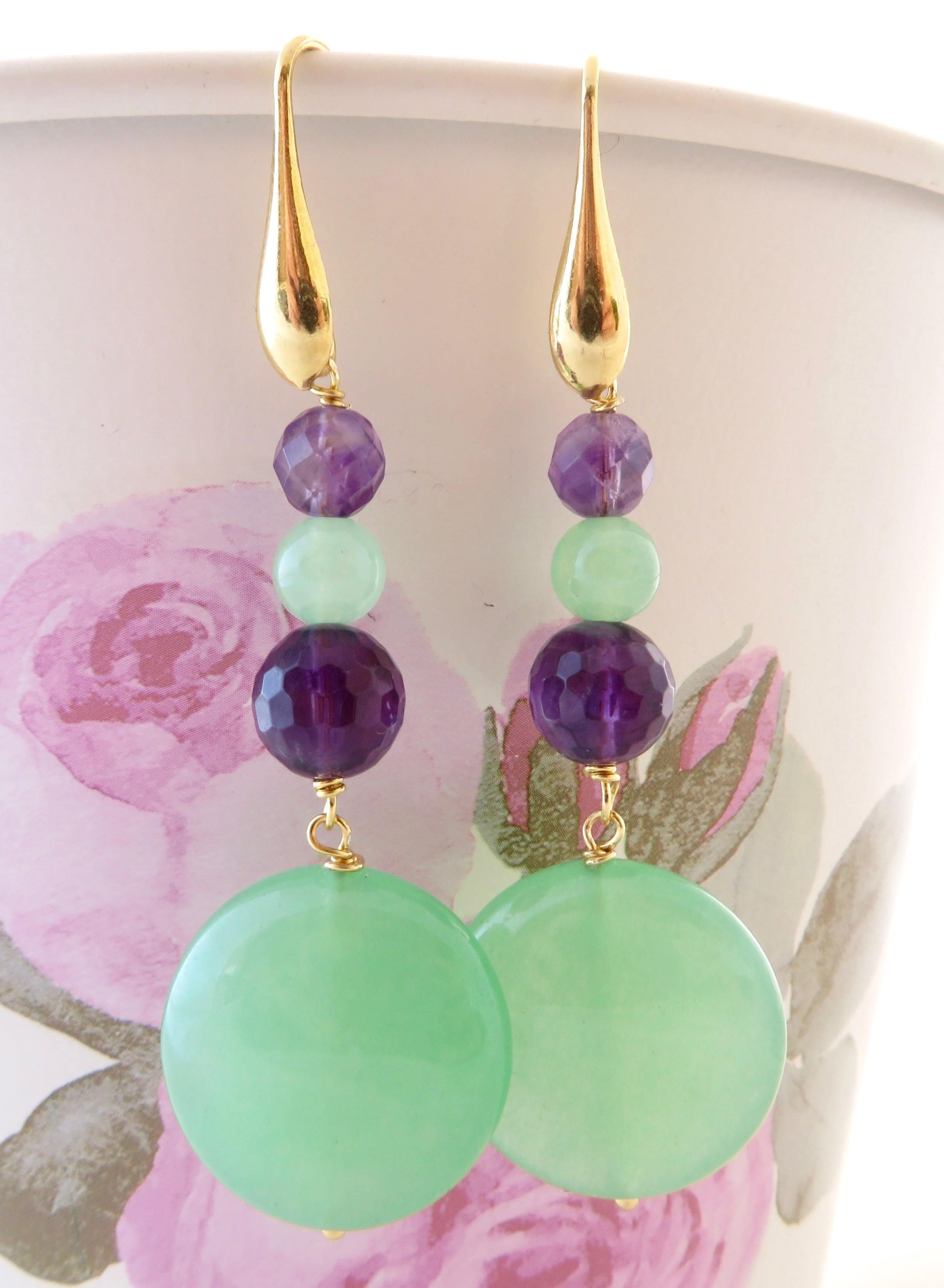 Photo of Green jade earrings, purple amethyst earrings, dangle earrings, golden sterling silver 925 earrings,  stone jewelry, italian jewellery, gift