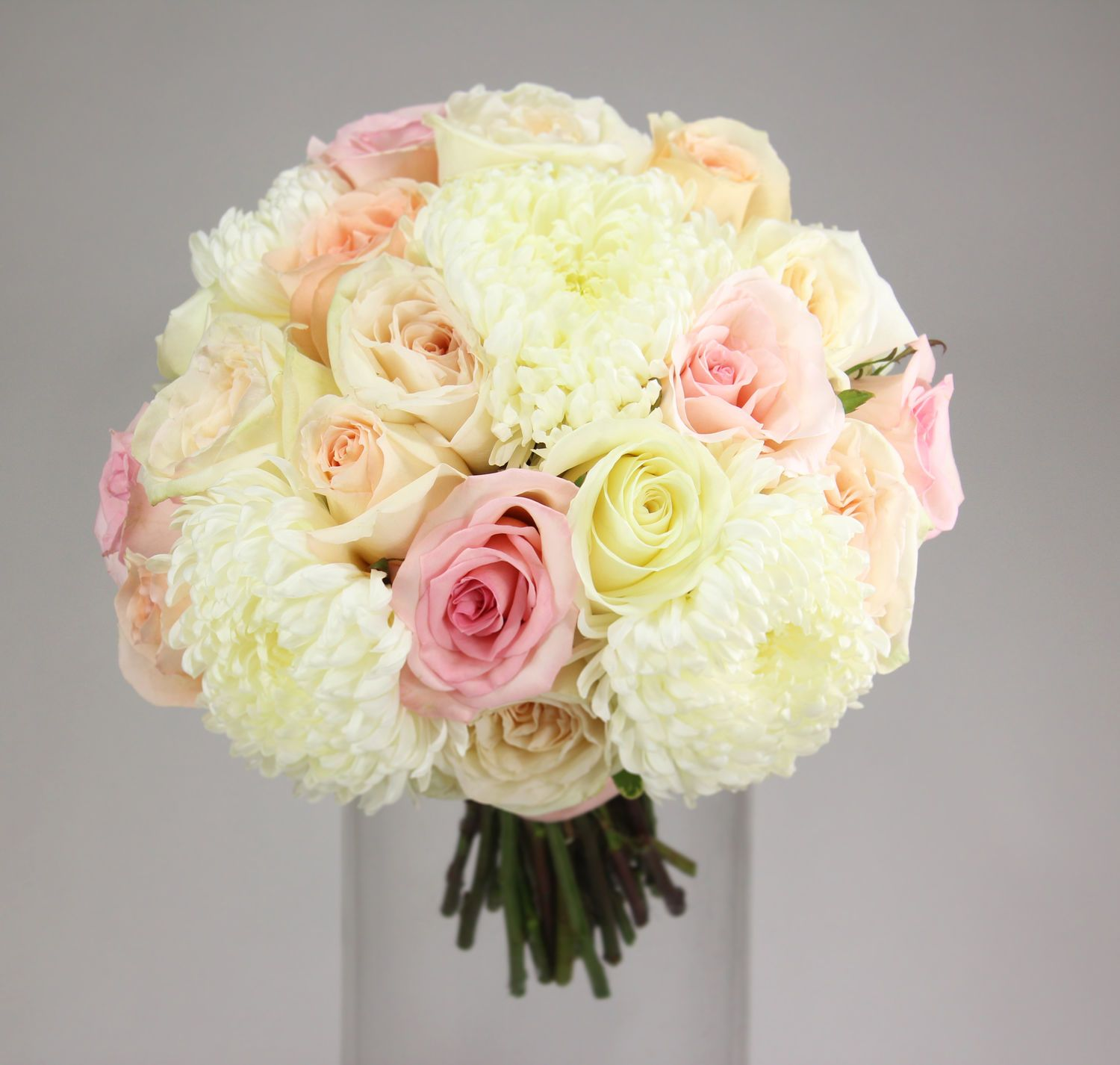 4daa30a5fa7f light and sweet  ivory football mums with ivory soft peach and light pink  roses.