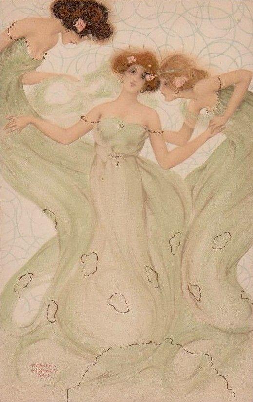 Les Ephemeres by Raphael Kirchner   Sisters art, Mermaid art, Art