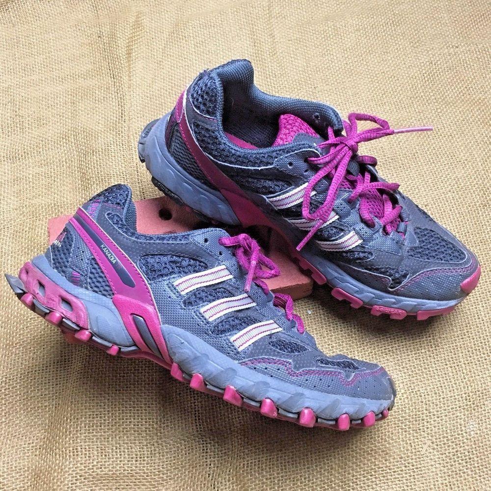 8c4dfd85924845 Adidas Kanadia TR HIking Trail Running Shoes AdiPrene Women s 7 Gray Pink   adidas  WalkingHikingTrail