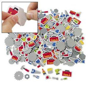 """500 pc Tool Self-Adhesive Shapes Foam Stickers by Party Express. $12.50. 500 Tool Self-Adhesive Shapes. Assorted designs. Approximate size: 1"""" - 1 3/4"""". 500 Tool Self-Adhesive Shapes. These foam shapes are the right tools for any art project! Assorted. 1"""" - 1 3/4"""""""