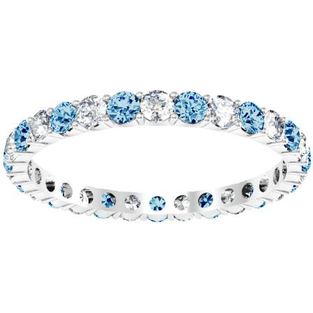 1 00cttw Diamond And Blue Topaz Eternity Ring Blue Topaz Wedding Blue Topaz Jewelry Topaz Wedding