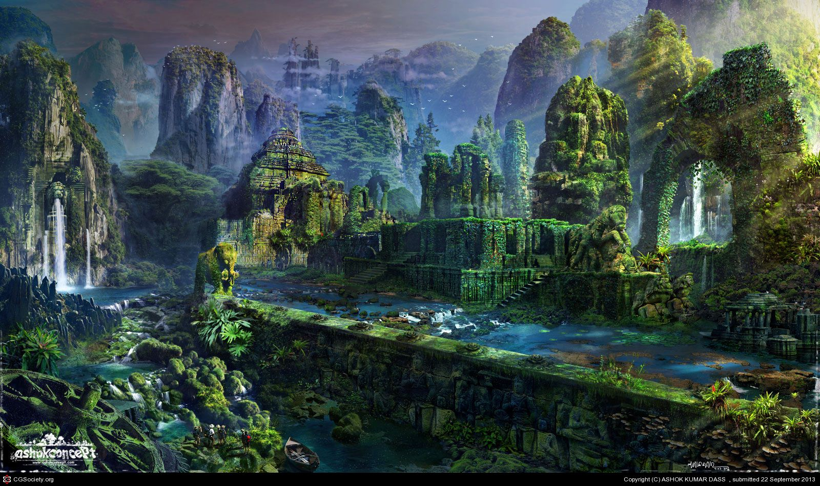 Image result for fantasy jungle landscape ruins