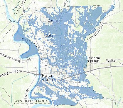 A Flood Map Developed By The Baton Rouge City Parish Gis Division Of